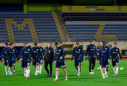 Players during practice session of Slovenian National football team prior to the friendly match against Former Yugoslav republic of Macedonia on November 12, 2012 in Domzale, Slovenia. (Photo By Vid Ponikvar / Sportida)
