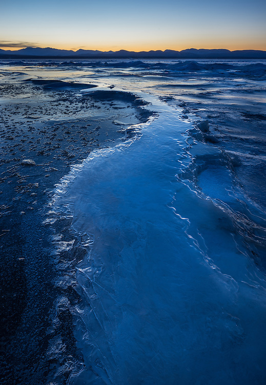 Blue hour frozen landscape of Lake Champlain, Vermont