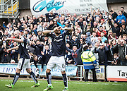 Dundee&rsquo;s Kane Hemmings celebrates after putting the Dark Blues ahead in the Dundee derby - Dundee United v Dundee in the Ladbrokes Premiership at Tannadice<br />