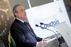 Real Madrid's president, Florentino Fernandez, gives a speech during the presentation of Belgian Thibaut Courtois as Real Madrid's goalkeeper at Santiago Bernabeu stadium in Madrid, Spain, 09 August 2018. Photo by Acero/Alterphotos/ABACAPRESS.COM