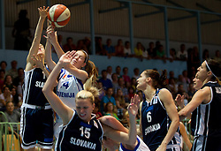Gabriela Kubatova of Slovakia vs Tina Trebec of Slovenia during women basketball match between National teams of Slovenia and Slovakia in 5th Round of European Championship France 2013 Qualifications, on June 26, 2012 in Arena Jezica, Ljubljana, Slovenia. (Photo by Vid Ponikvar / Sportida.com)