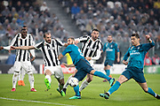 Cristiano Ronaldo of Real Madrid scores the 1st goal during the UEFA Champions League, quarter finals, 1st leg football match between Juventus and Real Madrid on April 3, 2018 at Allianz Stadium in Turin, Italy - Photo Morgese - Rossini / ProSportsImages / DPPI