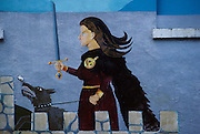 Mayo County. Wesport, mural remembering traditional Celtic civilisation. Westport, Mural remembering Granuaile O'Malley, a woman notorious pirate and chieftain of his clan.