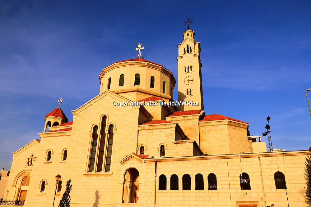 A large restored Christian church with clock and bell towers in Beirut's Centre Ville, Lebanon.