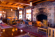 The main fireplace and sitting room at Crater Lake Lodge, Crater Lake National Park, Oregon