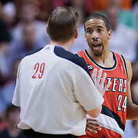 08 March 2011: Portland Trail Blazers point guard Andre Miller (24) reacts as he talks to a referee during the Portland Trail Blazers 105-96 victory over the Miami Heat at the AmericanAirlines Arena, Miami, Florida, USA.
