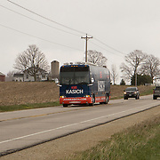 Republican Presidential candidate John Kasich campaign bus travels through farm country on his way to Madison  Wisconsin Saturday April 2, 2016. <br /> Photography by Jose More