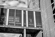 Sky bridge connecting parking decks along E Sixth St in Uptown Charlotte, North Carolina