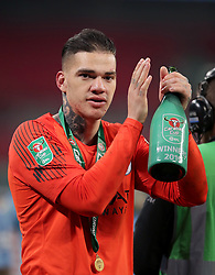 Manchester City goalkeeper Ederson celebrates after his side win the Carabao Cup Final in a penalty shot out