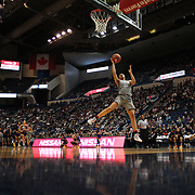 HARTFORD, CONNECTICUT- JANUARY 4: Gabby Williams #15 of the Connecticut Huskies drives to the basket defended by Khadidja Toure #2 of the East Carolina Lady Pirates in action during the UConn Huskies Vs East Carolina Pirates, NCAA Women's Basketball game on January 4th, 2017 at the XL Center, Hartford, Connecticut. (Photo by Tim Clayton/Corbis via Getty Images)