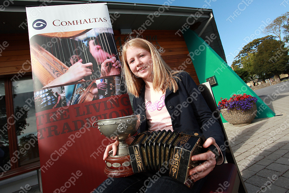 Sinead Mulqueen who came 1st in the U-12 concertina at the Fleadh Cheoil na h&Eacute;ireann 2009.<br /> Photograph by Yvonne Vaughan