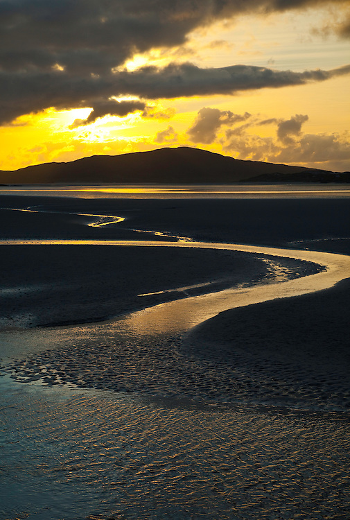 Bancos de arena de Luskentyre en fiordo de Taransay. Luskentyre Banks in Sound of Taransay. South Harris Island. Outer Hebrides. Scotland, UK