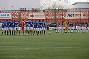 Both teams observe a minutes silence prior to the Ladbrokes Scottish Premiership match between Hamilton Academical FC and Rangers at New Douglas Park, Hamilton, Scotland on 24 February 2019.