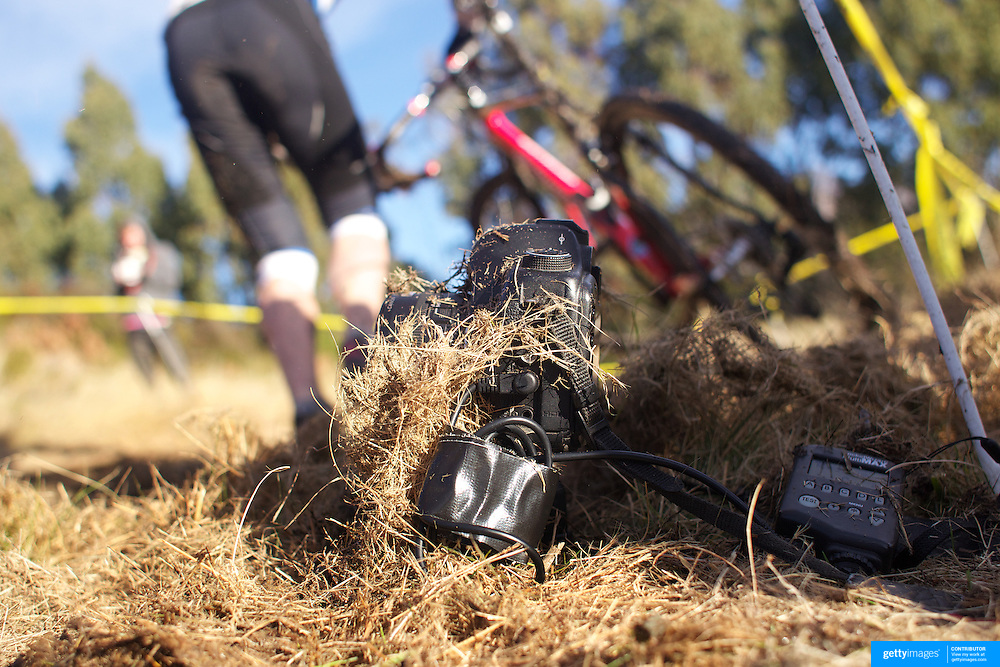 A remote camera covered in grass and mud after John Knight  fell from his bike during the thrills and spills of the New Zealand Cyclocross Championships sponsored by AJ Hackett Bungy, held at Jardine Park,  Queenstown, as part of the Queenstown WInter Festival. The men's event was won by Dan Warren from Hastings while Anja McDonald from Dunedin won the women's event. Queenstown, New Zealand, 2nd July 2011