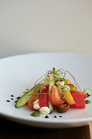 Heirloom Tomatoes+Cucumbers+Fresh Mozzerella Pearls+Watermelon+extra Virgin Olive Oil.(Jodi Miller/Monthly)