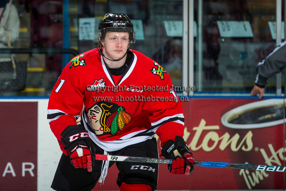 KELOWNA, CANADA - APRIL 7: Bronson Sharp #11 of the Portland Winterhawks warms up against the Kelowna Rockets on April 7, 2017 at Prospera Place in Kelowna, British Columbia, Canada.  (Photo by Marissa Baecker/Shoot the Breeze)  *** Local Caption ***