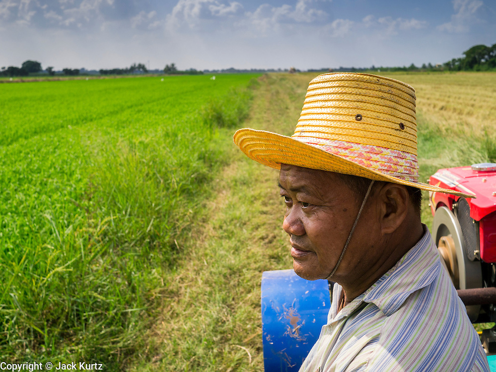 "15 NOVEMBER 2012 - PATHUM THANI, PATHUM THANI, THAILAND:  A rice field worker rides to work on a tractor near Pathum Thani. They were going out to harvest rice. The Thai government under Prime Minister Yingluck Shinawatra has launched an expansive price support ""scheme"" for rice farmers. The government is buying rice from farmers and warehousing it until world rice prices increase. Rice farmers, the backbone of rural Thailand, like the plan, but exporters do not because they are afraid Thailand is losing its position as the world's #1 rice exporter to Vietnam, which has significantly improved the quality and quantity of its rice. India is also exporting more and more of its rice. The stockpiling of rice is also leading to a shortage of suitable warehouse space. The Prime Minister and her government face a censure debate and possible no confidence vote later this month that could end the scheme or bring down the government.   PHOTO BY JACK KURTZ"