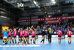 Players of RK Krim Mercator celebrate during handball match between RK Krim Mercator and HC Podravka Vegeta in Group Matches of Women's EHF Champions League 2018/19, on November 3, 2018 in Kodeljevo, Ljubljana, Slovenia. Photo by Matic Klansek Velej / Sportida