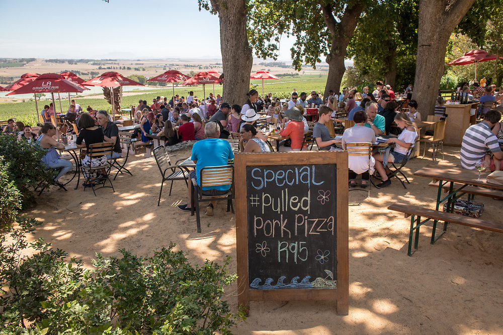 People seated at outdoors tables at resturant on a sunny day overlooking the grapevines, Cape Town, South Africa