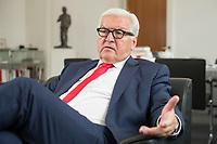 27 JUL 2016, BERLIN/GERMANY:<br /> Frank-Walter Steinmeier, SPD, Bundesaussenminister, waehrend einem Interview, in seinem Buero, Auswaertiges Amt<br /> IMAGE: 20160727-01-005<br /> KEYWORDS: Büro