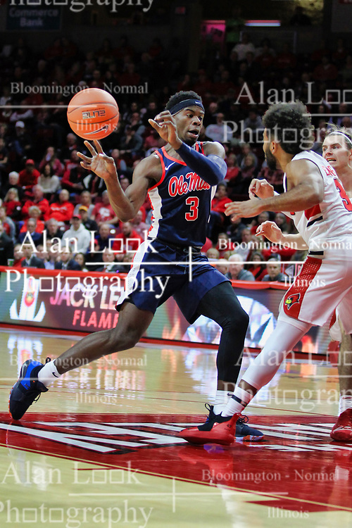 NORMAL, IL - December 08: Terence Davis defended by Keyshawn Evans during a college basketball game between the ISU Redbirds and the University of Mississippi (Ole Miss) Rebels on December 08 2018 at Redbird Arena in Normal, IL. (Photo by Alan Look)