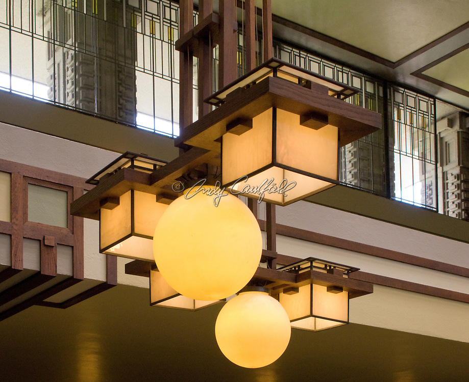Interior detail of light fixture and windows at Unity Temple. Oak Park, Illinois USA.Architect: Frank Lloyd Wright 1906