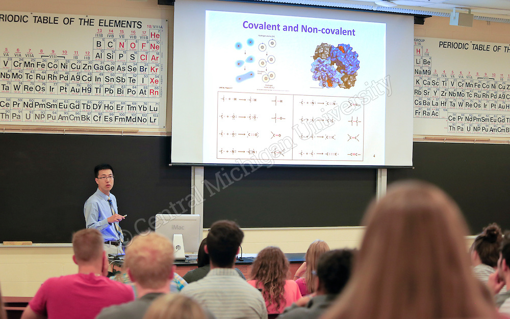 Linen Zhao teaches Intro to Biochemistry, Chemistry 425, in Dow Hall Fall semester as classes begin Monday August 31, 2015. Photos by Steve Jessmore/Central Michigan University