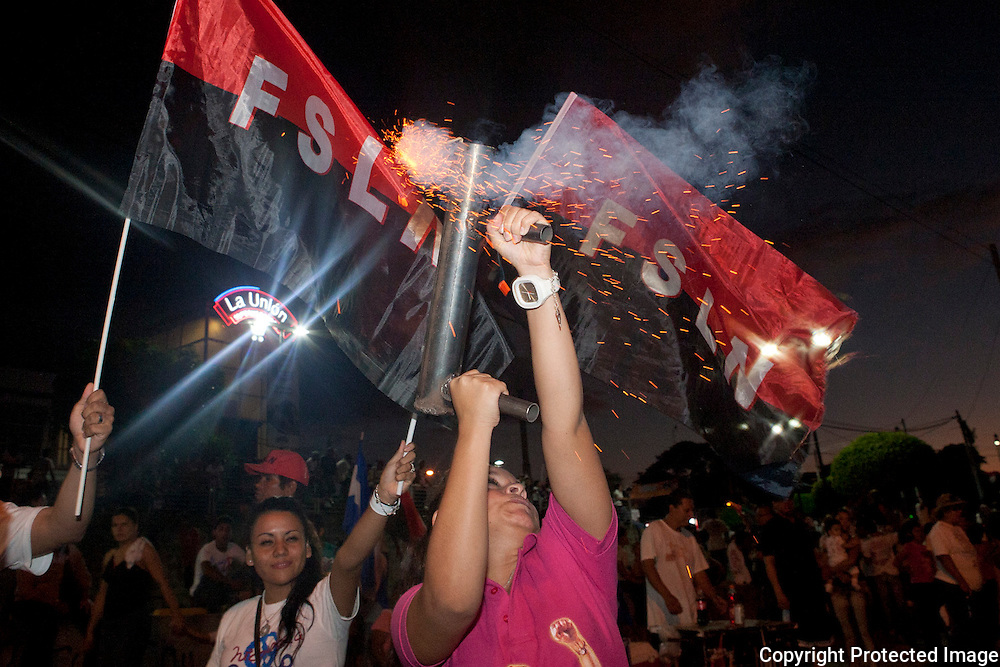 Ortega supporters celebrate after Ortegas win in the 2011 Nicaraguan elections
