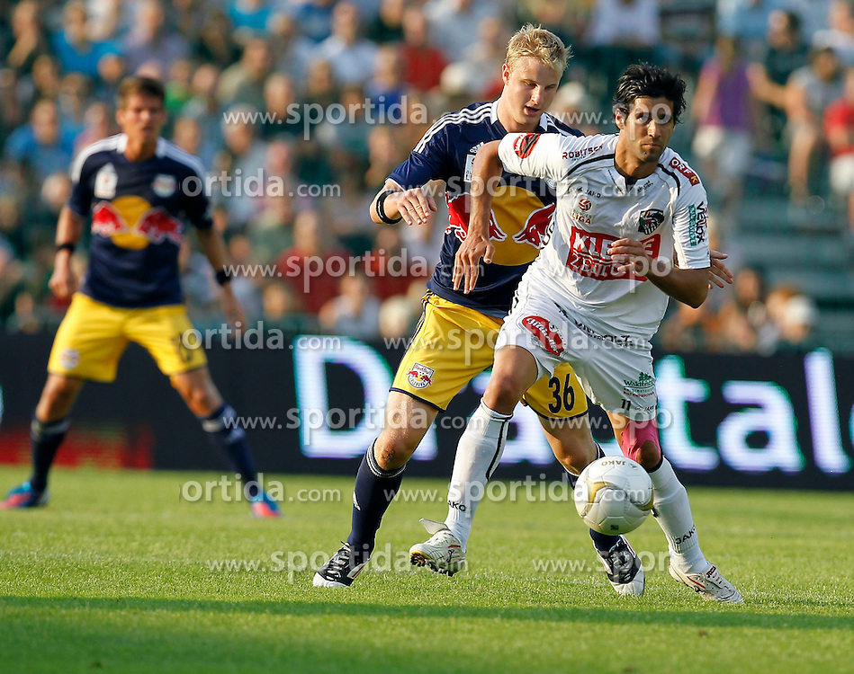 04.08.2012, Lavanttal Arena, Wolfsberg, AUT, 1. FBL, RZ Pellets WAC  vs FC Red Bull Salzburg, 3. Runde, im Bild Martin Hinteregger (RBS,#36) und Jacobo Maria Ynclan Pajares (WAC,#11) //  during Austrian Football Bundesliga Match, third round, between RZ Pellets WAC vs FC Red Bull Salzburg at the Lavanttal Arena, Wolfsberg, Austria on 2012/08/04. EXPA Pictures © 2012, PhotoCredit: EXPA/ Oskar Hoeher.