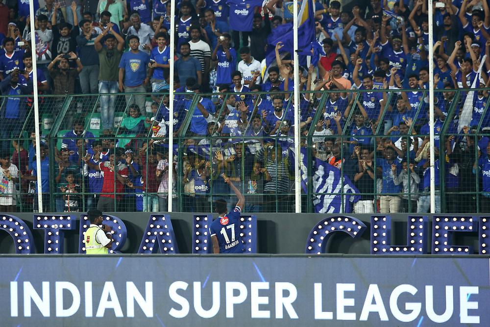 Chennaiyin FC win during match 46 of the Hero Indian Super League between Chennaiyin FC and FC Pune City held at the Jawaharlal Nehru Stadium, Chennai India on the 13th January 2018<br /> <br /> Photo by: Deepak Malik  / ISL / SPORTZPICS