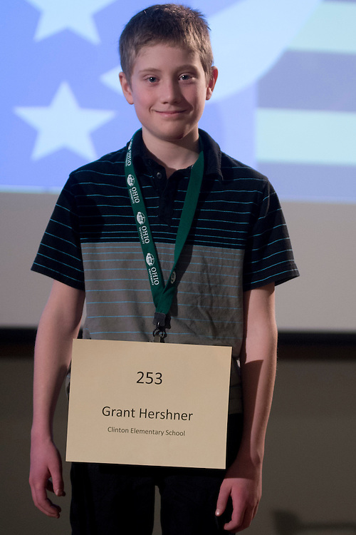 Grant Hershner of Clinton Elementary School introduces himself during the Columbus Metro Regional Spelling Bee Regional Saturday, March 16, 2013. The Regional Spelling Bee was sponsored by Ohio University's Scripps College of Communication and held in Margaret M. Walter Hall on OU's main campus.
