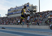 Jul 26, 2019; Des Moines, IA, USA; Will Claye places second in the triple jump in a wind-aided 58-1 (17.70m) during the USATF Championships at Drake Stadium.