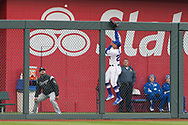 March 29, 2018 - Kansas City, MO, U.S. - KANSAS Kansas City, MO - MARCH 29: Kansas City Royals center fielder Jon Jay (25) leaps for a home run ball as it goes over the fence during the major league opening day game against the Chicago White Sox on March 29, 2018 at Kauffman Stadium in Kansas City, Missouri. (Photo by William Purnell/Icon Sportswire) (Credit Image: © William Purnell/Icon SMI via ZUMA Press)