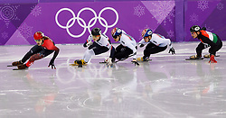 February 17, 2018 - Gangneung, South Korea - Short track skaters Samuel Girard of Canada, John-Henry Krueger of the United States, Yira Seo of Korea, Hyojun Lim of Korea and Shaolin Sandor Liu of Hungary compete in the Men's Short Track Speed Skating 1000M finals at the PyeongChang 2018 Winter Olympic Games at Gangneung Ice Arena on Saturday February 17, 2018. (Credit Image: © Paul Kitagaki Jr. via ZUMA Wire)