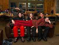 Philip Borelli, Jack Zarse, Jack McNamara and Anthony Borelli (lying across) hanging out in the Abenaki Lodge.  (Karen Bobotas/for the Laconia Daily Sun)