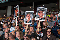 KELOWNA, CANADA - MAY 13: Fans support Nick Merkley #10 of Kelowna Rockets during the second period against the Brandon Wheat Kings on May 13, 2015 during game 4 of the WHL final series at Prospera Place in Kelowna, British Columbia, Canada.  (Photo by Marissa Baecker/Shoot the Breeze)  *** Local Caption *** Nick Merkley;
