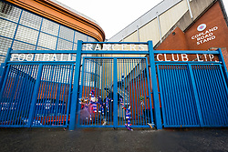 Entrance gates to Ibrox Park, Govan, home of Glasgow Rangers football Club, Glasgow, Scotland, United Kingdom