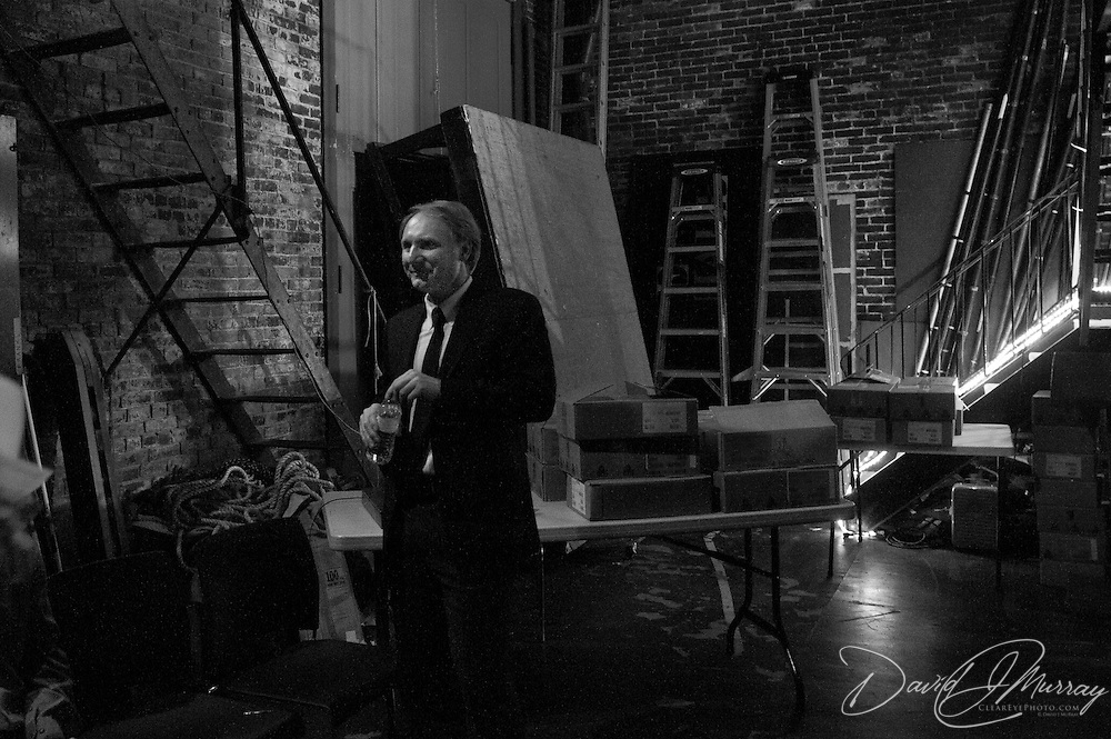 Author Dan Brown backstage before speaking at a Writers on a New England Stage benefit show at The Music Hall in Portsmouth, NH