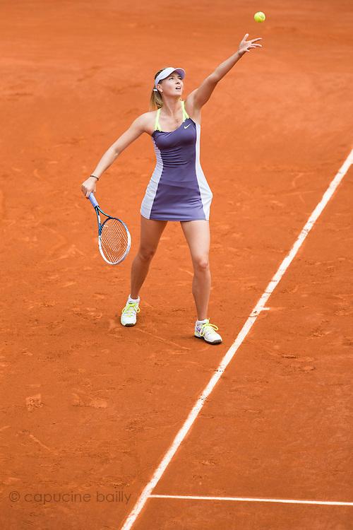 Paris, France. Roland Garros. June 1st 2013.<br /> Russian player Maria SHARAPOVA against Jie ZHENG