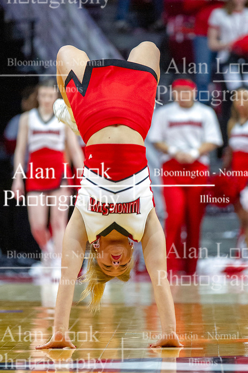 NORMAL, IL - February 16: Redbird Cheerleader doing back flips during a college basketball game between the ISU Redbirds and the Bradley Braves on February 16 2019 at Redbird Arena in Normal, IL. (Photo by Alan Look)