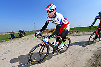 KRISTOFF Alexander (NOR) Team Katusha (Rus) during training on april 9 prior to the famous cycling race Paris Roubaix with paving stones paths which will take place on april 12, 2015 - Photo Tim de Waele / DPPI