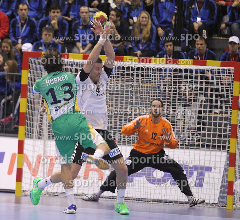 12.01.2013 Granollers, Spain. IHF men's world championship, prelimanary round. Picture show DIogo Hubner in action during game between Germany vs Brazil at Palau d'esports de Granollers / Sportida Photo Agency