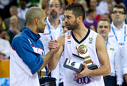 Best players Tony Parker of France and Juan Carlos Navarro of Spain at medal ceremony after the final basketball game between National basketball teams of Spain and France at FIBA Europe Eurobasket Lithuania 2011, on September 18, 2011, in Arena Zalgirio, Kaunas, Lithuania. Spain defeated France 98-85 and became European Champion 2011. (Photo by Vid Ponikvar / Sportida)