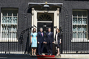 © Licensed to London News Pictures. 24/07/2012. Westminster, UK SAMANTHA CAMERON, GORDON BROWN, DAVID CAMERON, SARAH BROWN. The British Prime Minister David Cameron hosts a lunch today 24th July 2012 at Downing Street for HM The Queen and the Duke of Edinburgh with the Deputy Prime Minister and past Prime Ministers, Sir John Major, Tony Blair and Gordon Brown. Photo credit : Stephen Simpson/LNP