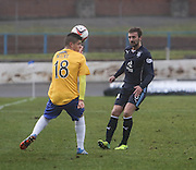 Kevin McBride clips the ball over Lewis Milne - Cowdenbeath v Dundee, SPFL Championship at Central Park<br /> <br />  - &copy; David Young - www.davidyoungphoto.co.uk - email: davidyoungphoto@gmail.com