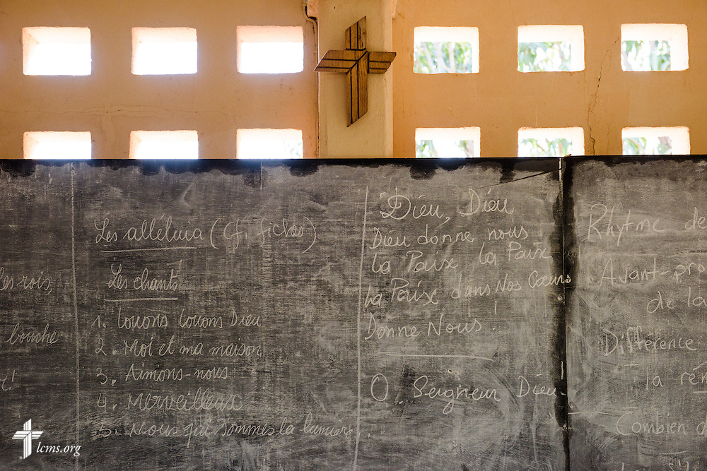 The chalkboard and LCMS cross in a classroom at the Lutheran Center for Theological Studies (CLET) on Tuesday, Feb. 14, 2017, in Dapaong, Togo. LCMS Communications/Erik M. Lunsford