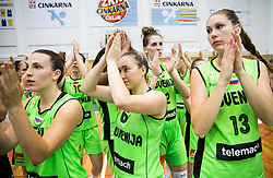 Teja Oblak, Annamaria Prezelj, Eva Lisec and Tina Trebec of Slovenia after winning during friendly basketball match between Women National teams of Slovenia and Croatia before FIBA Eurobasket Women 2017 in Prague, on June 1, 2017 in Celje, Slovenia. Photo by Vid Ponikvar / Sportida