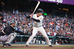 July 26, 2010; San Francisco, CA, USA;  San Francisco Giants first baseman Buster Posey (28) during the second inning against the Florida Marlins at AT&T Park.  Florida defeated San Francisco 4-3.