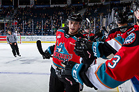 KELOWNA, BC - OCTOBER 2:  Alex Swetlikoff #17 of the Kelowna Rockets celebrates a second period goal against the Tri-City Americans at Prospera Place on October 2, 2019 in Kelowna, Canada. (Photo by Marissa Baecker/Shoot the Breeze)