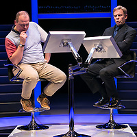 Quiz by James Graham ;<br /> Gavin Spokes as Charles Ingram :<br /> Keir Charles as Chris Tarrant :<br /> Directed by Daniel Evans ;<br /> Minerva Theatre, Chichester ;<br /> Chichester, West Sussex, UK ;<br /> 5 December 2017 ;<br /> Credit : Pete Jones<br /> www.pjproductions.co.uk